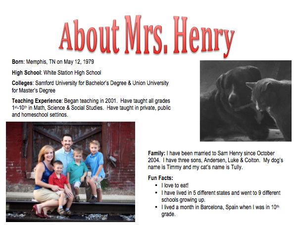 About Mrs. Henry
